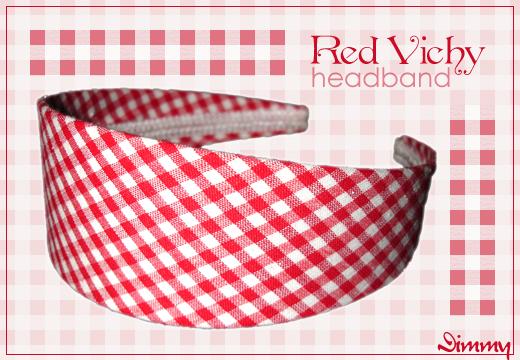 redVichyHeadband