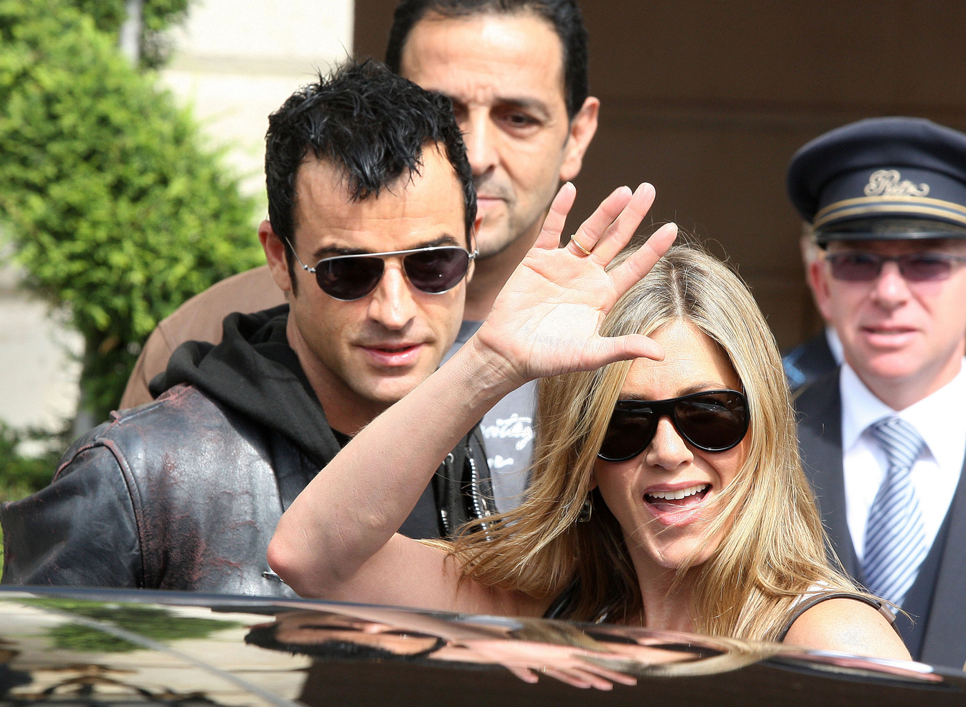 Hot couple Jennifer Aniston and Justin Theroux seen leaving together from the Ritz Hotel in Paris