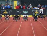 LONDON, ENGLAND - SEPTEMBER 11: A general view as athletes compete in the 100m Men Wheel IT4 final during day 1 of the Invictus Games, presented by Jaguar Land Rover at Lee Valley Athletics Centre on September 11, 2014 in London, England.  (Photo by Paul Thomas/Getty Images for Jaguar Land Rover)